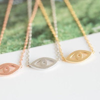 Evil Eye necklace in gold or silver, simple, everyday, heart giraffes necklace