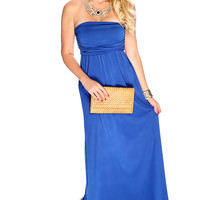Sexy Royal Blue Strapless Draped Summer Maxi Dress