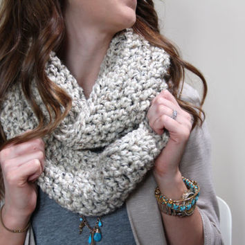 Chunky Infinity Scarf Loop OATMEAL Crochet Long Acrylic and Lamb's Wool Gift for Mom, Sister in Law, Aunt, Daughter, Girl Friend, Teen