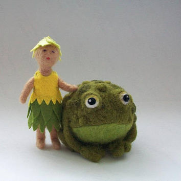Needle Felted Frog and Fairy, OOAK Dolls, Needle Felt Animals, Felt Frog, Felt Fairy, Set of 2