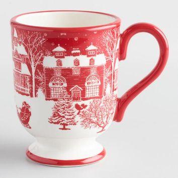 Winter Scene Santa Mug Set of 4