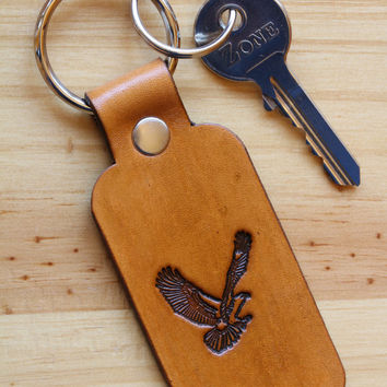 American Eagle Keychain, Leather Key Fob, Leather Keyring, American Eagle Key Fob, Handmade Keychain, Eagle Keyring, 4th of July Gifts