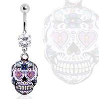 316L Surgical Steel Gemmed Navel Ring with Pale Purple Sugar Skull Dangle