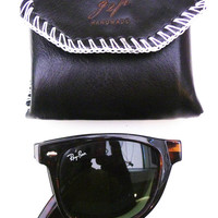 Black leather folding sunglasses case mans