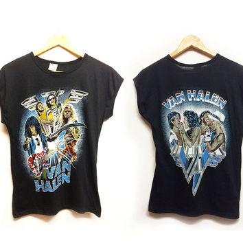Vintage 1980's Deadstock VAN HALEN Muscle Ringer Band  50 50 Tee || Mens XS-S || Ladies Small to Medium