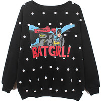 ROMWE | Romwe BATGIRL! & Polka Dots Print Black Sweatshirt, The Latest Street Fashion