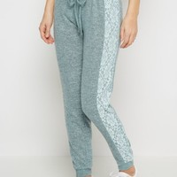 Blue Heathered Lace Inset Brushed Jogger | Joggers & Sweatpants | rue21