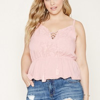 Plus Size Lace-Up Cami | Forever 21 PLUS - 2000171528