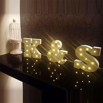 Wooden Letters Alphabet LED Lamp Sign Marquee Light Up Night LED Grow Light Wall Decoration For Bedroom Wedding Ornaments Lights