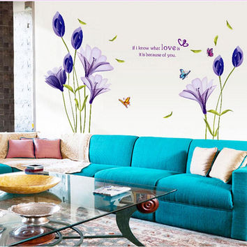 1PCS purple Lily Flowers Mural Wall Sticker Decal Vinyl Art Elegant Flower Sticker Furnishing Romantic Living Room Decoration