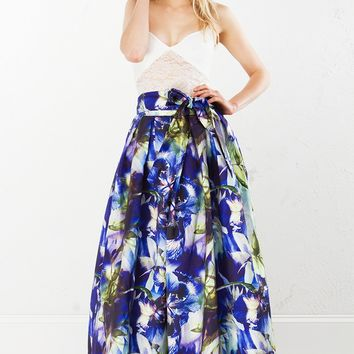 Multicolor Floral Maxi Skirt in Yellow and Blue