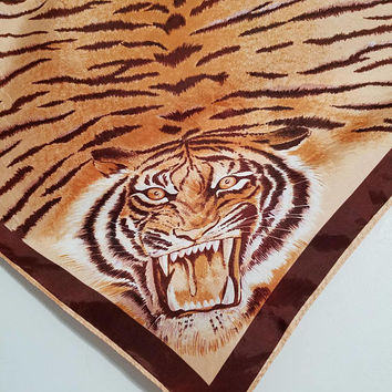 Tiger Scarf Animal Print Vintage Bandana Neckerchief