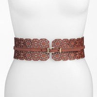 Women's Halogen Laser Cut Floral Stretch Belt