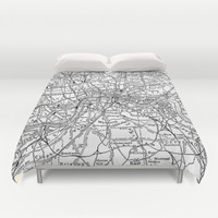 Vintage Map of London England (1911) Duvet Cover by BravuraMedia | Society6