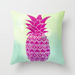 Pink Pineapple Throw Pillow by Jacqueline López