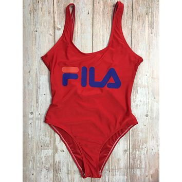 FILA Summer Fashion New Letter Print Straps One Piece Bikini Swimsuit