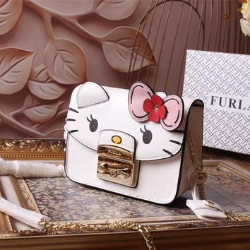 Ready Stock Furla Women's Leather Hello Kitty Inclined Chain Shoulder Bag #552