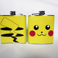 Pikachu Pokemon inspired flask 6oz