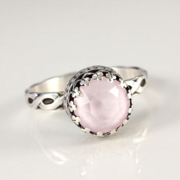 Pink ring, sterling silver with Swarovski Poweder Rose crystal, vintage style, floral band, 8 mm crown setting, light pink, promise ring