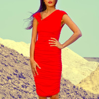 red jersey dress ruched asymmetric