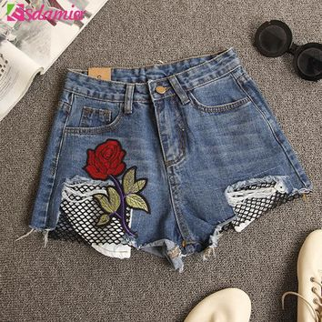 High Waist Ripped Jeans Shorts Flower Embroidery Fishnet Hollow Pocket