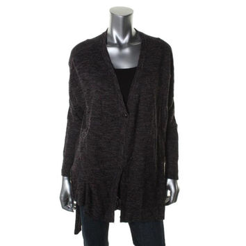 Free People Womens Ribbed Knit Button Front Cardigan Sweater