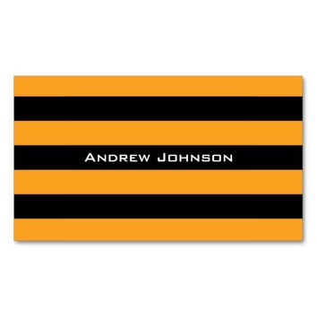 Black and orange stripes pattern Double-Sided standard business cards (Pack of 100)
