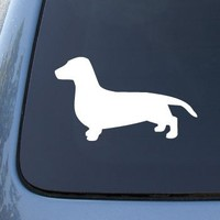 DACHSHUND SMOOTH SILHOUETTE - Dog - Decal Sticker #1504 | Vinyl Color: White