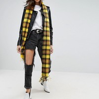 ASOS Long Woven Bright Yellow Plaid Scarf With Tassels at asos.com