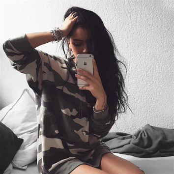 Autumn Women's Fashion Hot Sale Camouflage Long Sleeve Hoodies [9024086924]