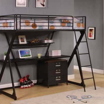 "Acme 37138 Zazie ii collection twin loft bed with lower desk and shelf sandy black finish metal ""x"" shaped frame design bunk bed"