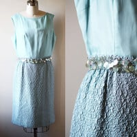 1960s soft blue sheath dress // 1960s party dress // vintage dress