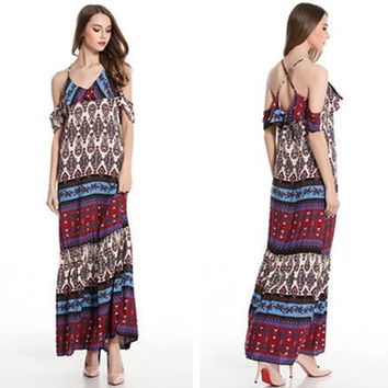 Fashion Shoulder Hollow Multicolor Ethnic Retro Print Backless Crisscross Strap Maxi Dress