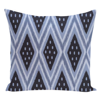 e by design Ikat Diamond Dot Geometric Pillow - Dark Blue/Navy
