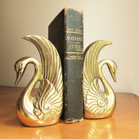 Vintage Brass Swan Bookends Brass Bookend Gold Swan Book End Heavy Bird Bookends Animal Bookends Swan Brass Figurine Mid Century Bookend