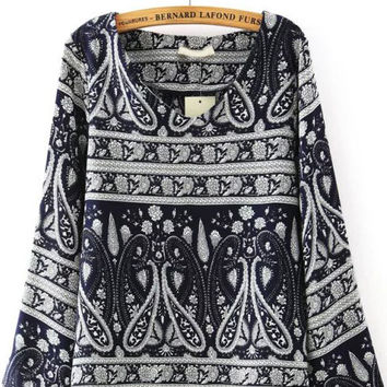 Navy V Neck Bell Sleeve Floral Blouse