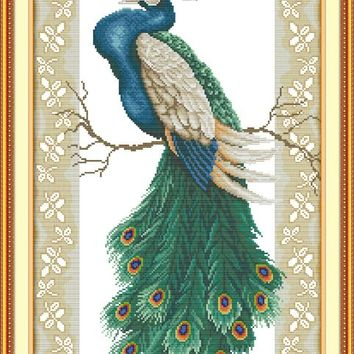 Peacock on the branch DMC Animal cross stitch kits 14ct white 11ct printed embroidery DIY handmade needle work wall home decor