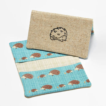Business Card Case, Credit Card Holder, Fabric Gift Card Wallet in Teal Woodland Hedgehog