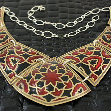 Large persian inspired brass statement necklace in red and black