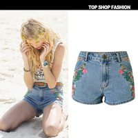 Women's Fashion Embroidery Blue Denim Bohemia Shorts [6451819972]