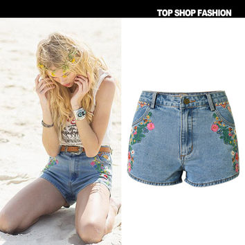 Women's Fashion Embroidery Blue Denim Bohemia Shorts [7976026817]