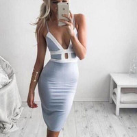bodycon hollow out deep v dress