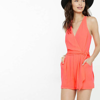 Neon Coral Surplice Romper from EXPRESS