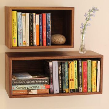 Floating Bookshelf, Floating Shelves, Hanging Bookshelves, Wall Bookcase Storage, Solid Wood Modern Shelf