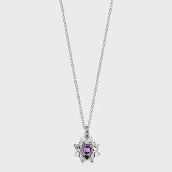 Protea Charm Necklace with Stone - silver/amethyst