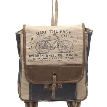 Myra Bag Bicycle Up-cycled Canvas & Leather Backpack S-1005