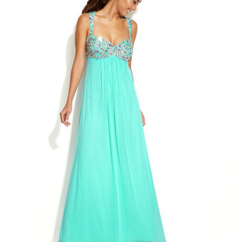 Xscape Sleeveless Embellished-Bodice Gown