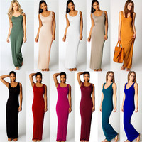 Women Maxi Dress Solid O-neck Sleeveless Casual Dress
