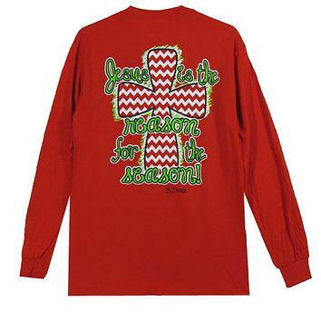 Bjaxx Jesus is the Reason for the Season Cross Christmas Long Sleeve Christian T Shirt