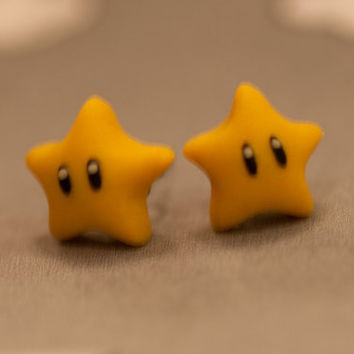 Nintendo Mario Star Earrings by lizglizz on Etsy